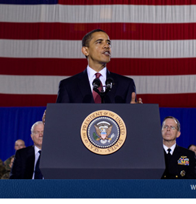 President Obama announcing the timetable for the phased withdrawal of U.S. forces from Iraq at Camp Lejeune, North Carolina on Feb. 27th